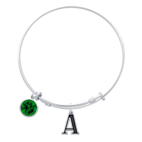 EXPANDABLE INITIAL BANGLE WITH MAY CHARM