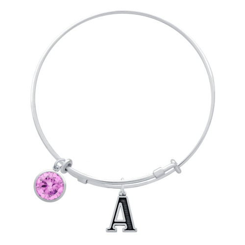 EXPANDABLE INITIAL BANGLE WITH OCTOBER CHARM (AMAZON)