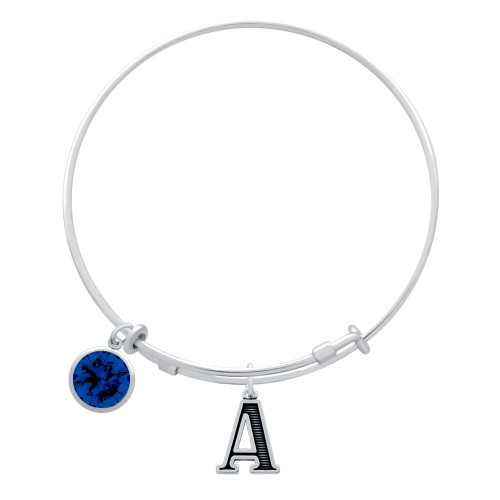 EXPANDABLE INITIAL BANGLE WITH SEPTEMBER CHARM (AMAZON)