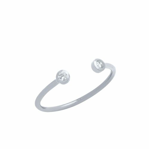 RHODIUM PLATED ADJUSTABLE STACKABLE DOUBLE 2MM CZ RING