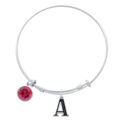 EXPANDABLE INITIAL BANGLE WITH JULY CHARM (AMAZON)
