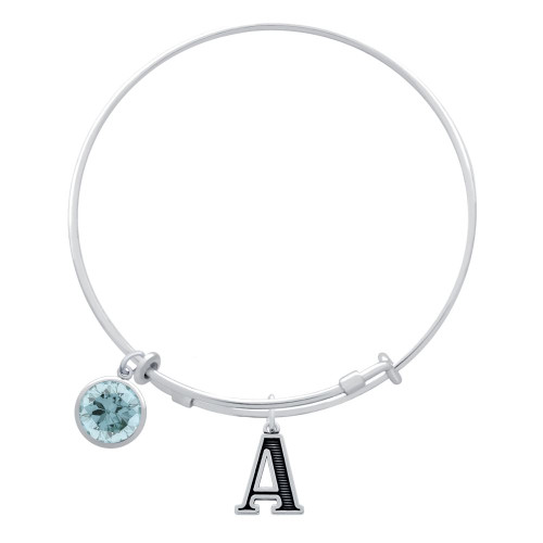 EXPANDABLE INITIAL BANGLE WITH MARCH CHARM (AMAZON)