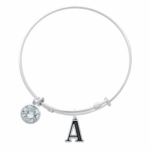 EXPANDABLE INITIAL BANGLE WITH FEBRUARY CHARM (AMAZON)