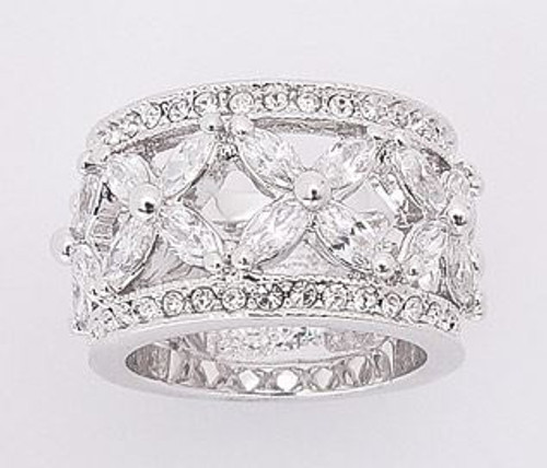 11MM FLOWER CZ RING W/ MARQUEE