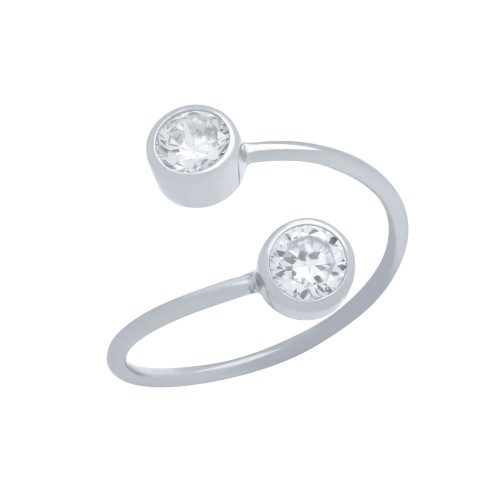 RHODIUM PLATED ADJUSTABLE CROSSOVER RING WITH DUAL 5MM CZ