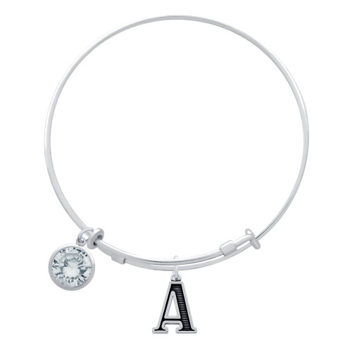 EXPANDABLE INITIAL BANGLE WITH APRIL CHARM
