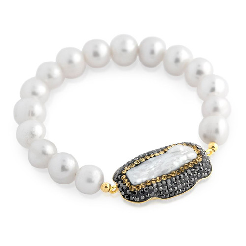 FRESHWATER PEARL ON GOLD PLATED STERLING SILVER STRETCH BRACELET DZB050