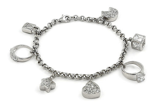 """RHODIUM PLATED BRACELET WITH 7 DANGLING CZ CHARMS 7"""""""