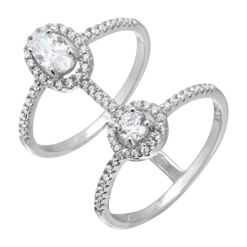 RHODIUM PLATED DUPLEX CZ SOLITAIRE HALO RING