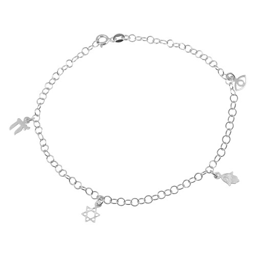 """STERLING SILVER CHAI AND STAR OF DAVID FAITH CHARM ANKLET 9"""" +1"""""""