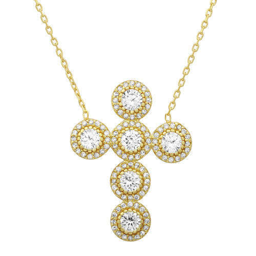 """GOLD PLATED CZ ROUNDED CROSS NECKLACE 16""""+1"""" ADJUSTABLE"""