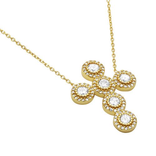 "GOLD PLATED CZ ROUNDED CROSS NECKLACE 16""+1"" ADJUSTABLE"