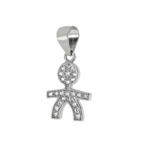 STERLING SILVER CUBIC ZIRCONIA BOY PENDANT