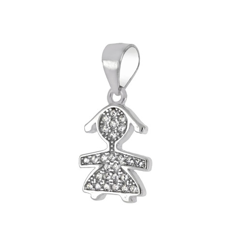 STERLING SILVER GIRL CUBIC ZIRCONIA PENDANT