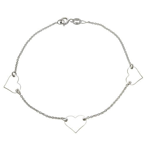 ITALIAN STERLING SILVER THREE HEARTS & ROLO CHAIN BRACELET