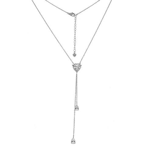 STERLING SILVER HEART & PEAR SHAPE CZ Y NECKLACE