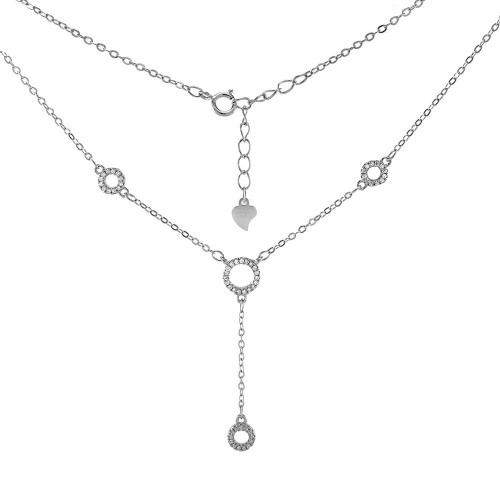 STERLING SILVER CIRCLE CUBIC ZIRCONIA Y NECKLACE