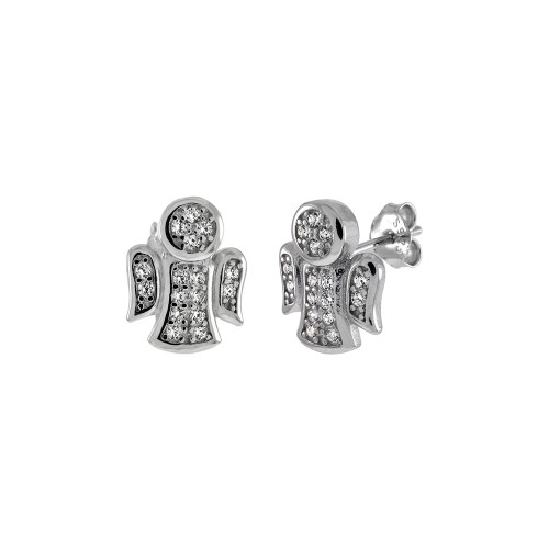 STERLING SILVER CUBIC ZIRCONIA ANGEL STUD EARRINGS