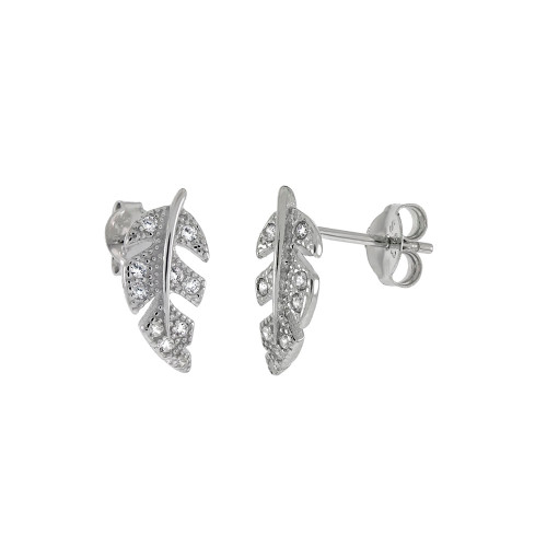 STERLING SILVER CUBIC ZIRCONIA LEAF STUD EARRINGS