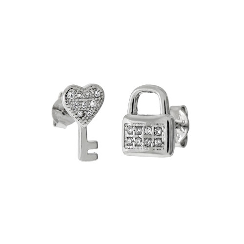 STERLING SILVER CZ HEART KEY  & LOCK STUD EARRINGS
