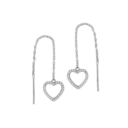 STERLING SILVER CUBIC ZIRCONIA OPEN HEART THREADER EARRINGS