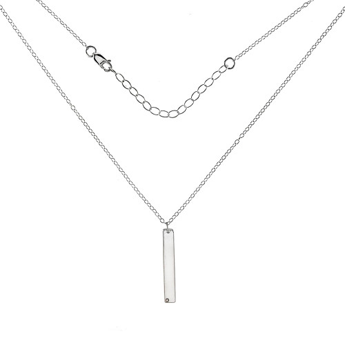 STERLING SILVER VERTICAL BAR NECKLACE WITH DIAMOND