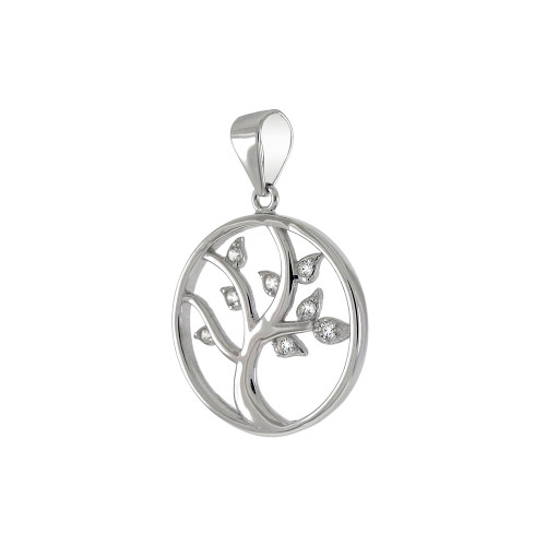 STERLING SILVER TREE OF LIFE CUBIC ZIRCONIA PENDANT