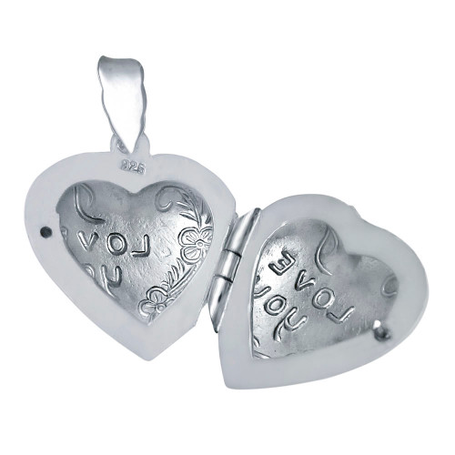 STERLING SILVER I LOVE YOU HEART LOCKET PENDANT