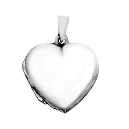 STERLING SILVER PLAIN HEART LOCKET PENDANT 1""