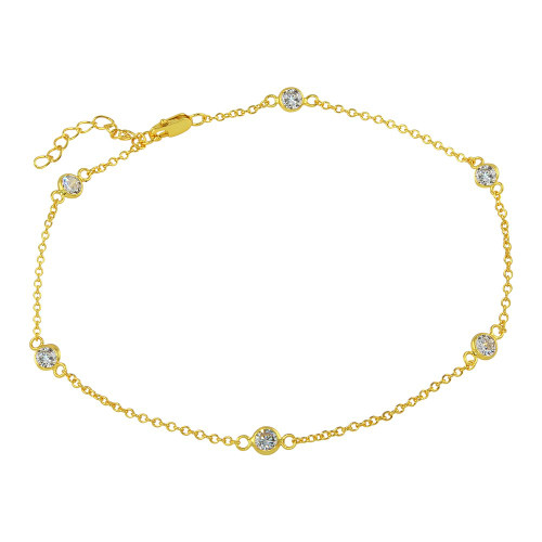 4MM BEZEL CZ GOLD PLATED BY THE YARD BRACELET  7.5+1""