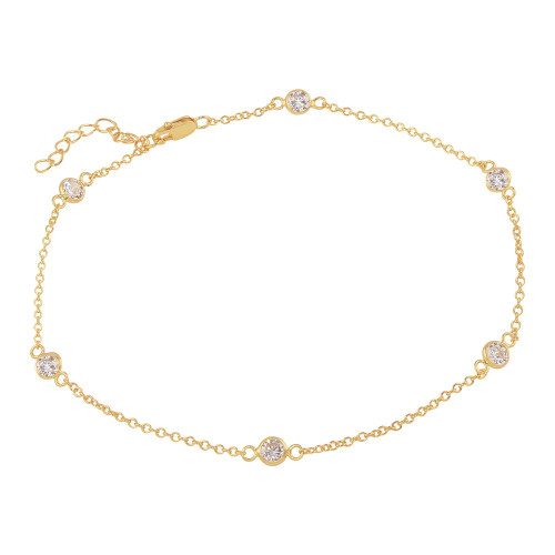 4MM BEZEL CZ ROSE GOLD PLATED BY THE YARD BRACELET  7.5+1""