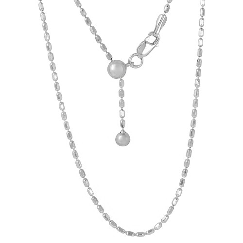 "ADJUSTABLE RHODIUM PLATED OVAL BEAD CHAIN (1.3MM)  14"" TO 24"""