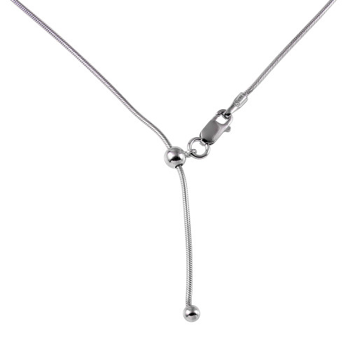 """ADJUSTABLE RHODIUM PLATED SNAKE CHAIN 020 (1.0MM) 14"""" TO 24"""""""