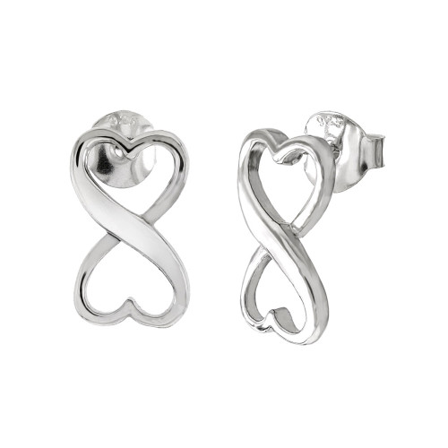 STERLING SILVER HEART SHAPE INFINITY STUD EARRINGS