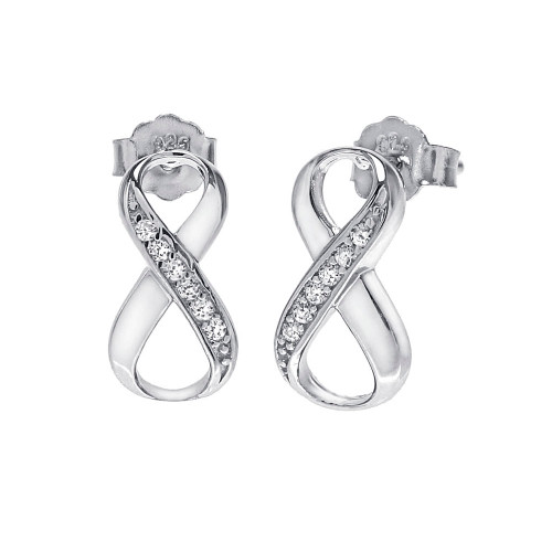 STERLING SILVER CUBIC ZICONIA INFINITY EARRINGS