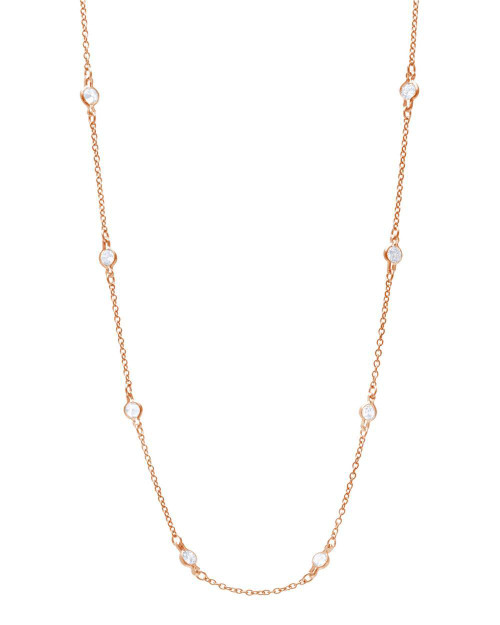 ROSE GOLD 4MM BEZEL CZ BY THE YARD NECKLACE 30""