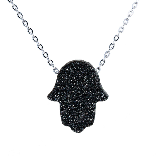 """STERLING SILVER DRUZY HAMSA BLACK & WHITE DOUBLED SIDED  NECKLACE 16+2"""""""