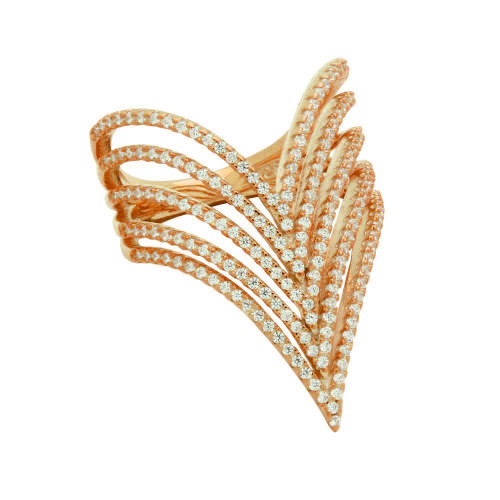 "ROSE GOLD PLATED 5-ROW CZ MICRO PAVE CHEVRON ""V"" RING"