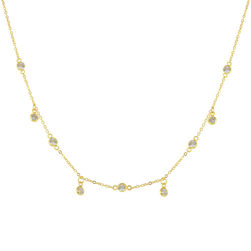 "GOLD PLATED 4MM BEZEL CZ BY THE YARD NECKLACE W/DANGLE CZ 16""+2"