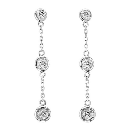 RHODIUM PLATED DANGLE EARRING 4MM BEZEL SET