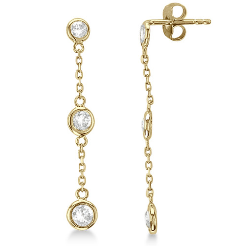 GOLD PLATED DANGLE EARRING 4MM BEZEL SET