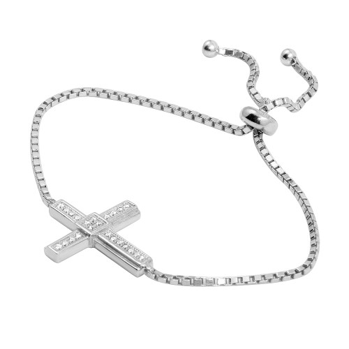 2MM STERLING SILVER RHODIUM ROUND CUT ADJUSTABLE BRACELET W/CROSS CUBIC ZIRCONIA