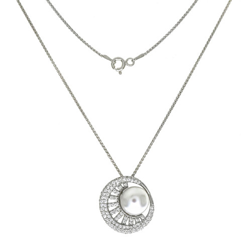 STERLING SILVER PEARL W/CUBIC ZIRCONIA SLIDER NECKLACE