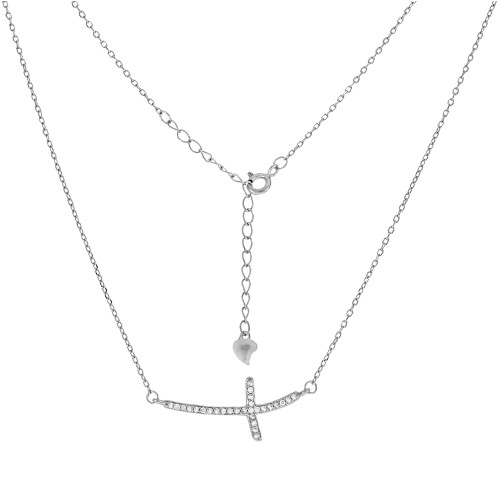 STERLING SILVER CUBIC ZIRCONIA SIDE CROSS PENDANT RHODIUM NECKLACE