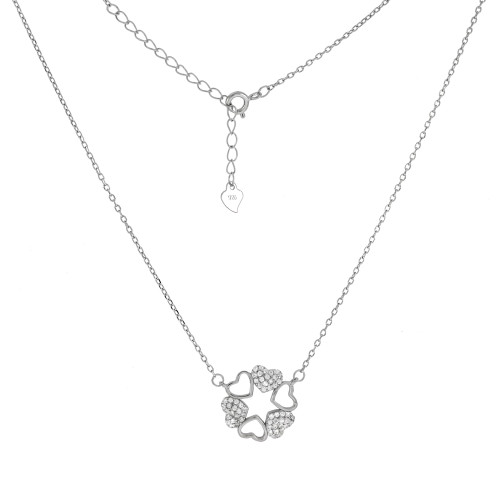 STERLING SILVER PAVE CZ HEART RHODIUM NECKLACE
