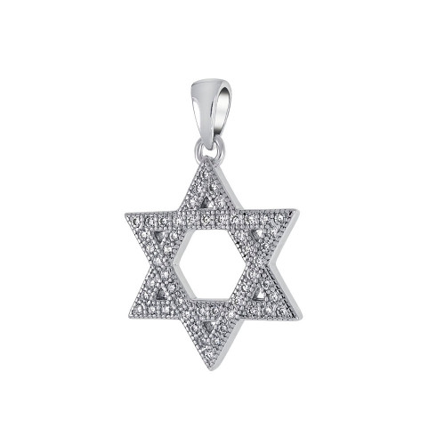 STERLING SILVER STAR OF DAVID PAVE CZ PENDANT