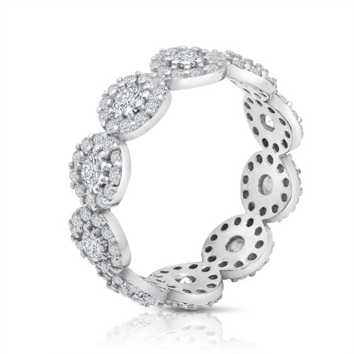 RHODIUM PLATED FLOWER CZ ETERNITY BAND