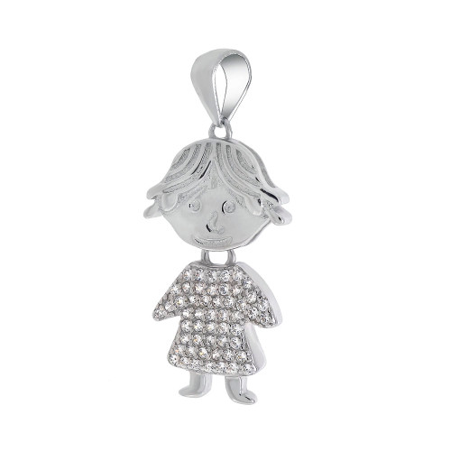STERLING SILVER GIRL CUBIC ZIRCONIA PENDANT MOVABLE HEAD