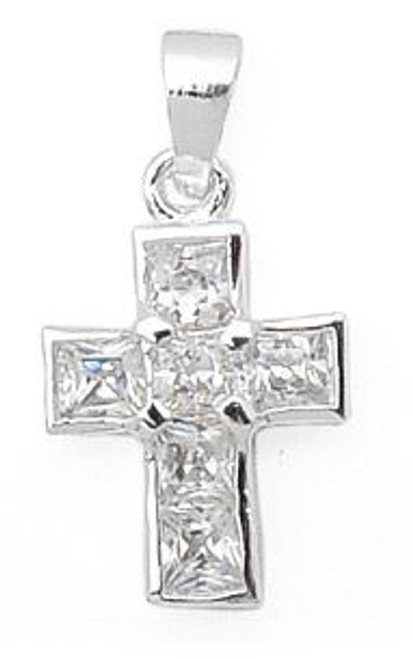 PRINCESS CUT CZ CROSS PENDANT