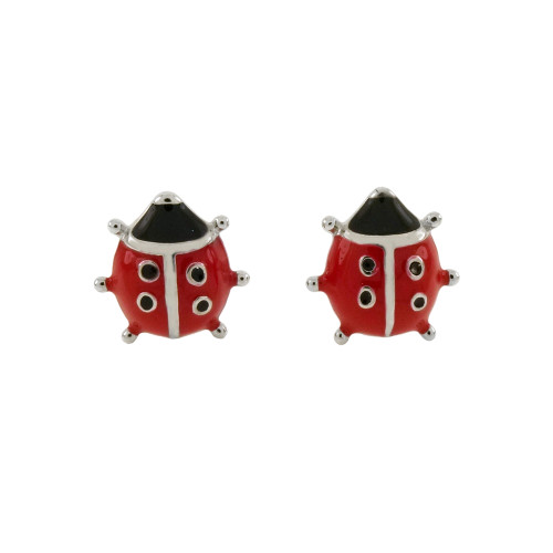 STERLING SILVER ENAMEL LADYBUG STUD EARRINGS